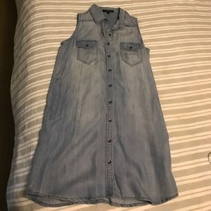 Light denim button down sleeveless dress
